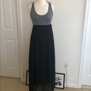 Gray and black maxi dress